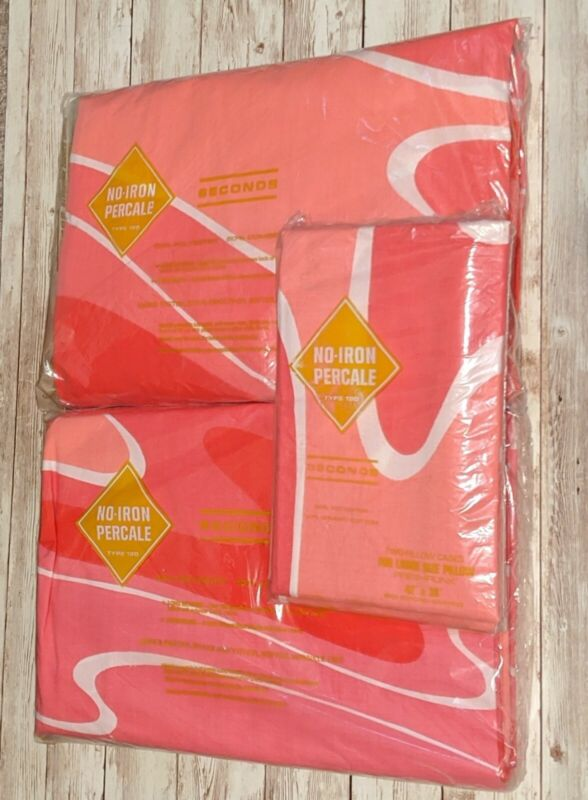 Vtg NOS Vera Double Bed Sheet Flat Fitted Pillowcase Pink Red Wave Mod Groovy
