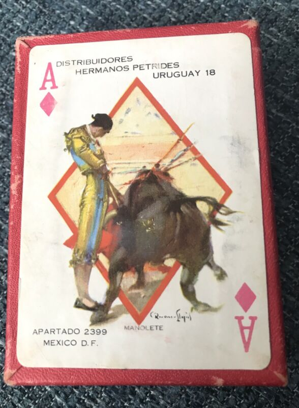 Mid Century Art! Mexico ~ Deck Of Bullfighting Playing Cards ~ 1950/60s