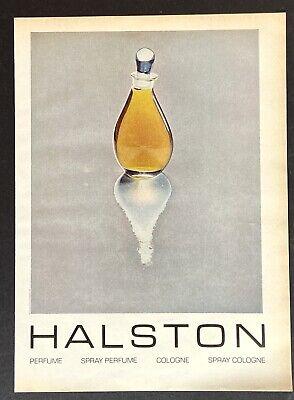 HALSTON 2 Women's perfume Bottle Image Art 1975 Vintage Print Ad