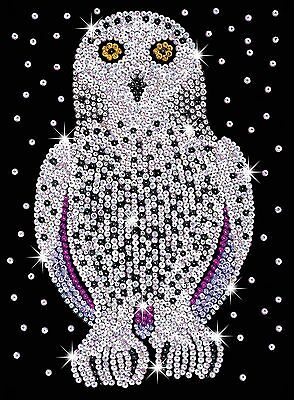 KSG Sequin Art Original Paillettenbild Schnee-Eule 1604