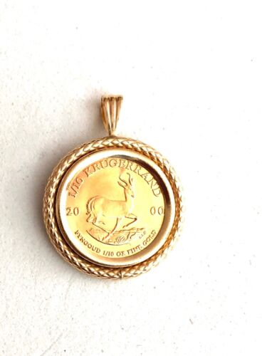 2000- 1/10 GOLD KRUGERRAND COIN IN SOLID 10K YELLOW GOLD BEZEL/PENDANT