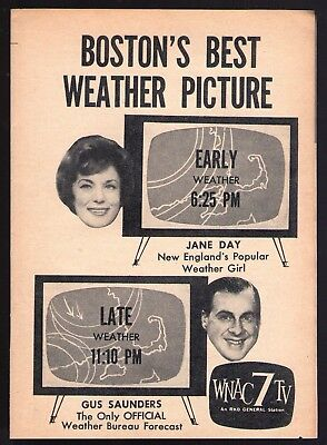 1961 Wnac Boston Tv News Ad Jane Day   Gus Saunders Weather Forecast Channel 7