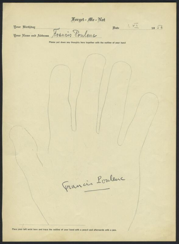 Francis POULENC (Composer): Signed Hand Tracing