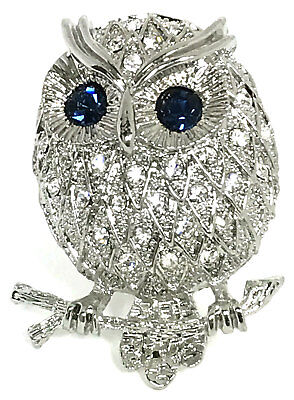 Clear Sparkling Crystals Chubby Owl Blue Crystals Eyes Pin Brooch Pendant
