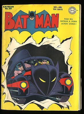 Batman #20 VG/FN 5.0 White Pages 1st Batmobile Cover!