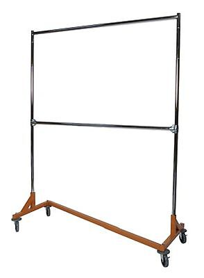 Heavy Duty Double Bar Z Rack Clothing Garment Clothes Rolling W 10 Extensions