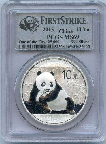 """2015  China Silver .999  """"First Strike""""  Panda 10 Yuan   PCGS   MS 69"""