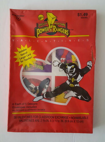 Vintage 1994 Saban Mighty Morphin Power Rangers Valentine Day Cards