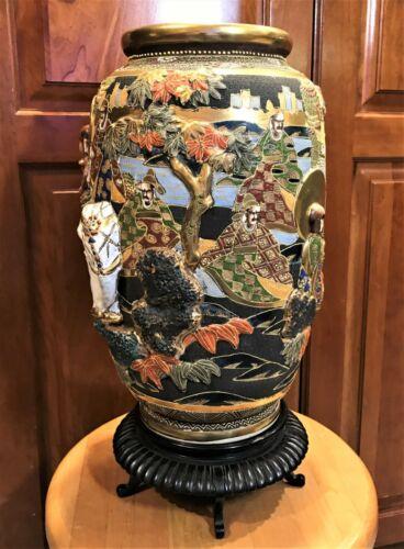 """? Satsuma Vase 17.5""""  Raised Figures Elephant ? Gods People Gold Great Colors"""