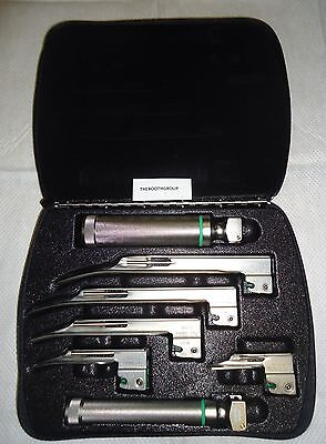 Welch Allyn 68696 Miller Fiber Optic Laryngoscope Set-2 Handles And 5 Blades