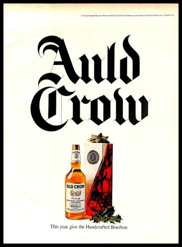 1970 Old Crow Kentucky Bourbon Whiskey Vintage PRINT AD Christmas Set Gift 1970s