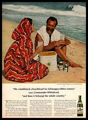 1966 Schweppes Bitter Lemon Bottle Commander Whitehead On Beach Vintage Print Ad