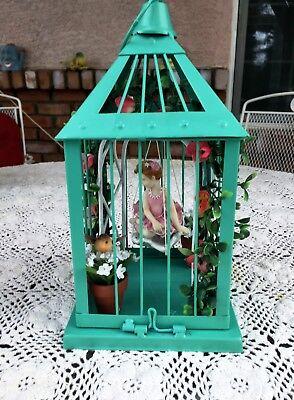 Birdcage Centerpiece, Shabby Chic Metal Birdcage, Floral Bouquet, Silk Flowers