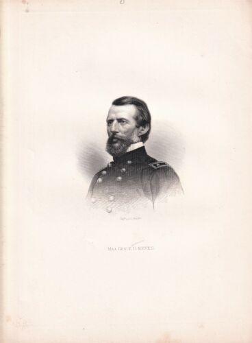 ERASMUS DARWIN KEYES Major General during the Civil War engraving 1866