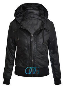 Womens Ladies Black PU PVC Faux Leather Hooded Padded Bomber Jacket UK 8 - 16