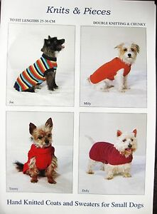 KNITTING PATTERN FOR KNITTED DOG COAT SWEATER JUMPER SMALL DOGS CHUNKY DK