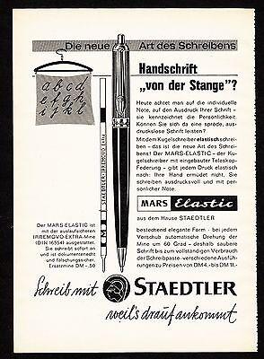 3w1120/ Alte Reklame - von 1960 - Schreib mit STAEDLER - Mars Elastic