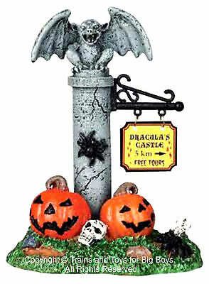 Dracula S Castle Halloween (Lemax 04170 DRACULA'S CASTLE SIGN Spooky Town Accessory Halloween O G Retired I)