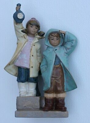 Lladro Ahoy There Gres Figurine #2173  Boy and Girl with Lantern Lladro Gres Figurines