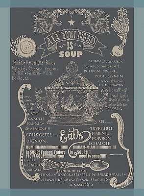 Garnier Thiebaut Kitchen Jacquard Towel French Food SOUP Recipe Words Gift $23.5 Food Gifts Soup