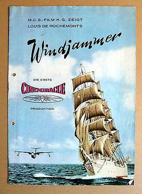 WINDJAMMER * VERLEIH-BROSCHÜRE BROCHURE FILM KINO SEGELSCHIFF 1958 gelocht