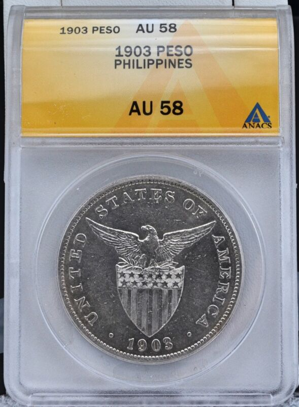 1903-P U.S. Philippines Silver Peso ANACS AU 58 Blast White Luster