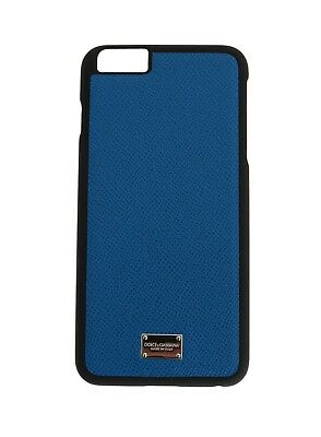 NEW $200 DOLCE & GABBANA Phone Case Skin Blue Silver Logo Leather iPhone6 Plus