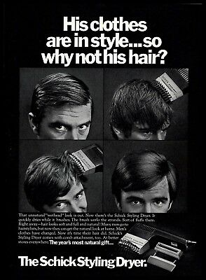 1970 The Schick Styling Dryer Hairstyle B&W Vintage 1970s Photo PRINT AD - Hairstyles 1970s
