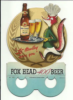 C 1950 FOX HEAD 400 BEER SIGN BOTTLE TOPPER HEADLEY THE FOX MASCOT WAUKESHA WISC