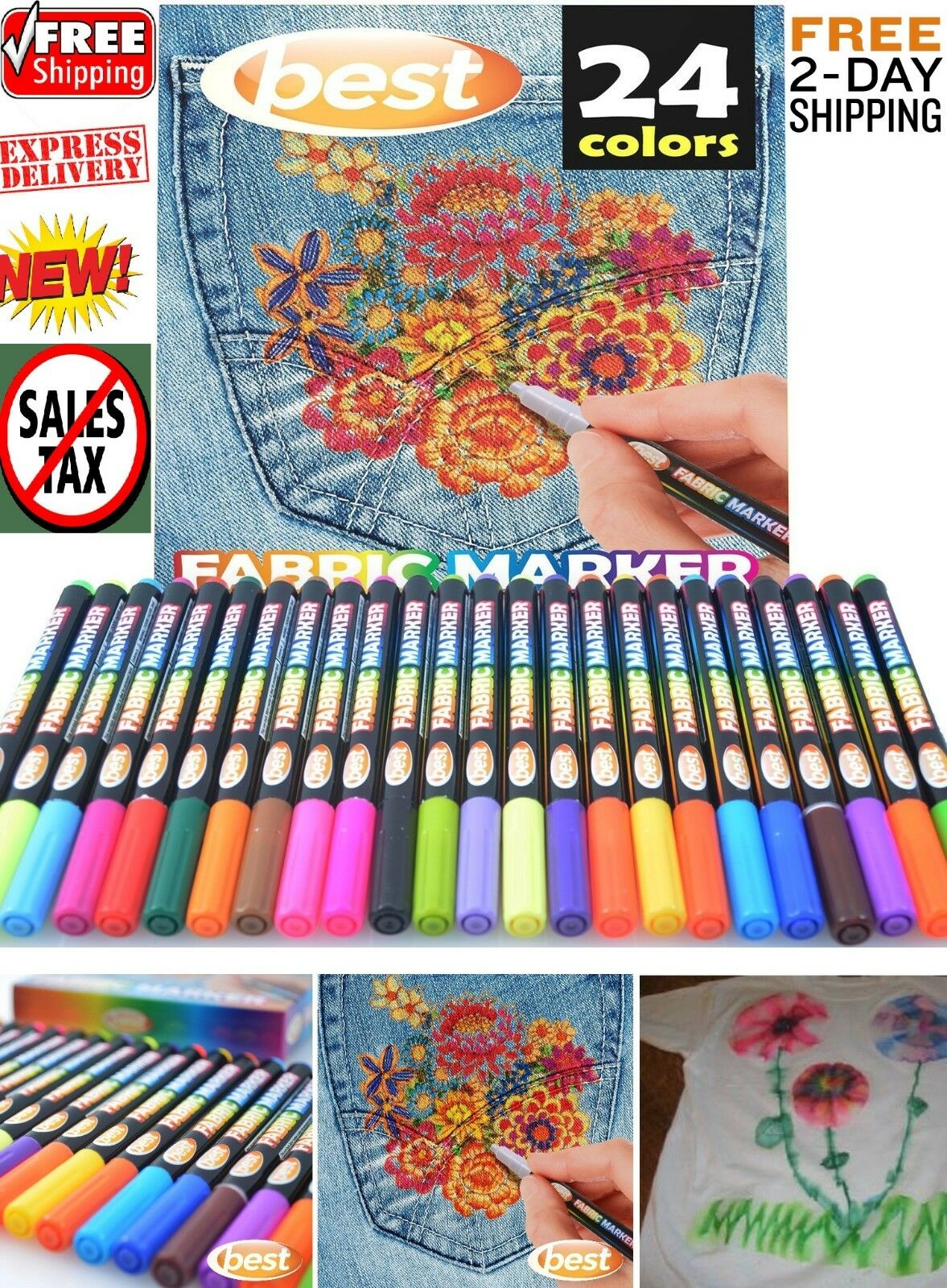 Fabric Markers Permanent Coloring Pens 24 SET Fabric Paintin