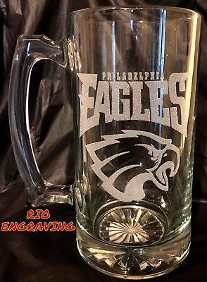 Laser Engraved Beer - PHILADELPHIA EAGLES sport Beer Mug 26.5 oz Personalized Laser Engraved FreeShip!