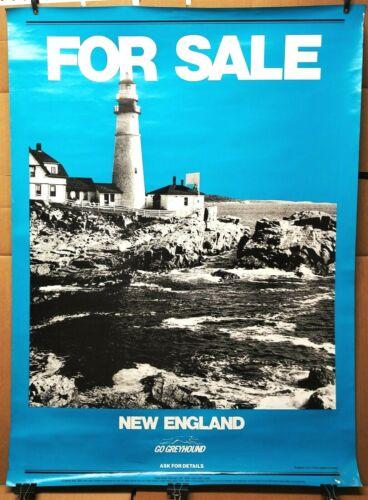 Rare GREYHOUND BUS TRAVEL POSTER for sale NEW ENGLAND lighthouse coast 1978