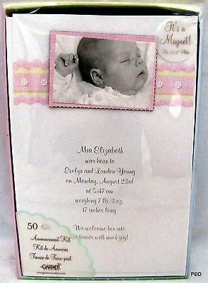 Gartner Baby Girl Pink Magnet Announcement Kit 50 Invitations Cards Shower 68016](Baby Girl Invitations)