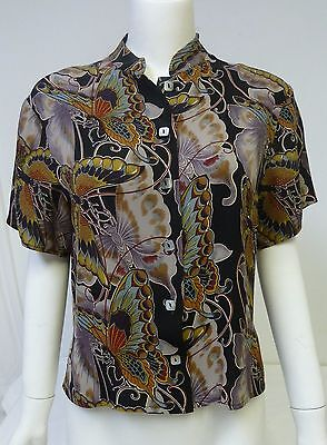 HARARI Women's 100% Silk Multi Color Butterfly Short-Sleeve Blouse Top Size M