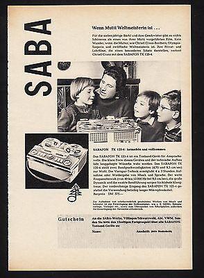 3w898/ Alte Reklame - von 1961 - SABA Tonbandgeräte - SABA-Werke Villingen