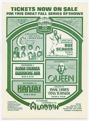 QUEEN Kansas TINA TURNER Robin Trower Original 1977 Las Vegas Concert Handbill