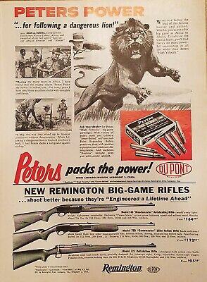 Vintage 1957 Peters Power Dupont Big Game Cartidges Remington Rifles Print Ad