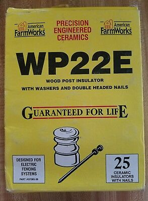American Farm Works Wp22e 25 Wood Post Ceramic Insulator W Nails