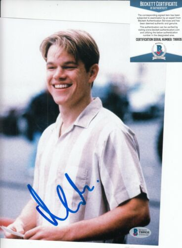 MATT DAMON signed (GOOD WILL HUNTING)  Will Movie 8X10 photo BECKETT BAS T89935