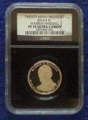 2014 S NGC PF70 WARREN HARDING PRESIDENTIAL DOLLAR PROOF W/BLACK RETRO LABEL