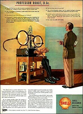 1944 Professor Robot research Shell oil company vintage art Print Ad adL55