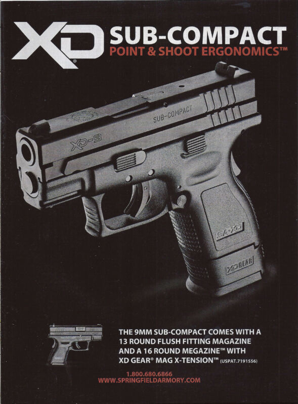 2011 SPRINGFIELD ARMORY XD Sub-Compact PISTOL Photo AD Collectible Advertising