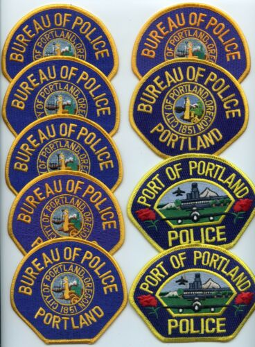 PORTLAND & PORT OREGON Patch Lot Trade Stock 9 Police Patches POLICE PATCH