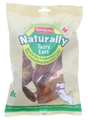 Bob Martin Naturally Tasty Pigs Ears Bag of 8 Dog Treat NEW