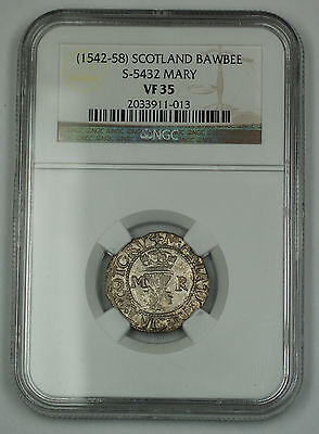 (1542-58) Scotland Bawbee Coin S-5432 Mary NGC VF-35 AKR