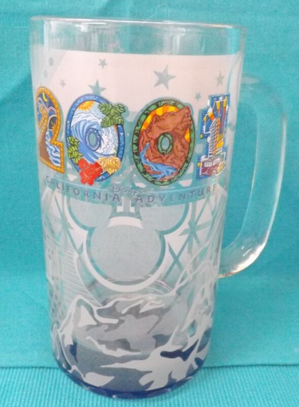 Disneyland California Adventure 2001 Frosted Glass Mug Cup Theme Park Souvenir