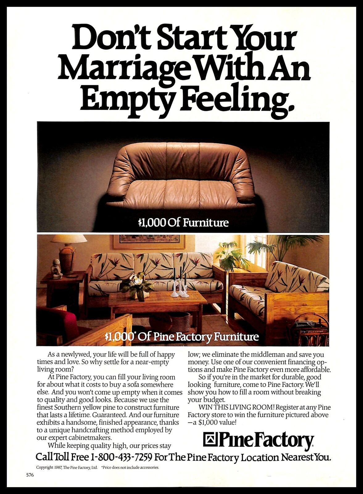 1987 Pine Factory Furniture Vintage Print Ad Marriage Newlywed Living Room 1980s