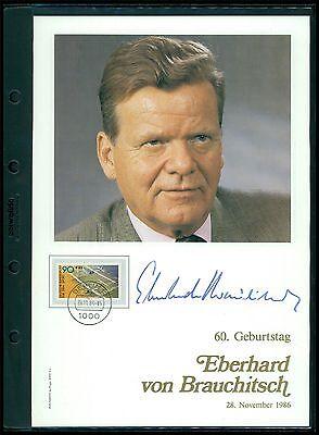 GEBURTSTAGS-GEDENKBLATT 1986 EBERHARD VON BRAUCHITSCH HANDSIGN. NUR 1000 ! z2229