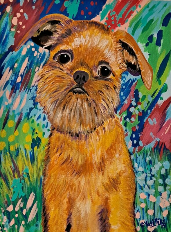 Beautiful Original Pop Art Brussels Griffon Portrait Painting by artist Vasiliki