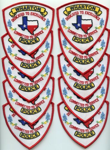 WHARTON TEXAS TX Patch Lot Trade Stock 10 Police Patches POLICE PATCH